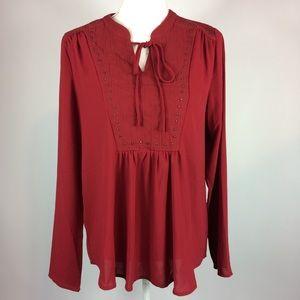Greylin Red Tie Neck Embellished Blouse  Medium